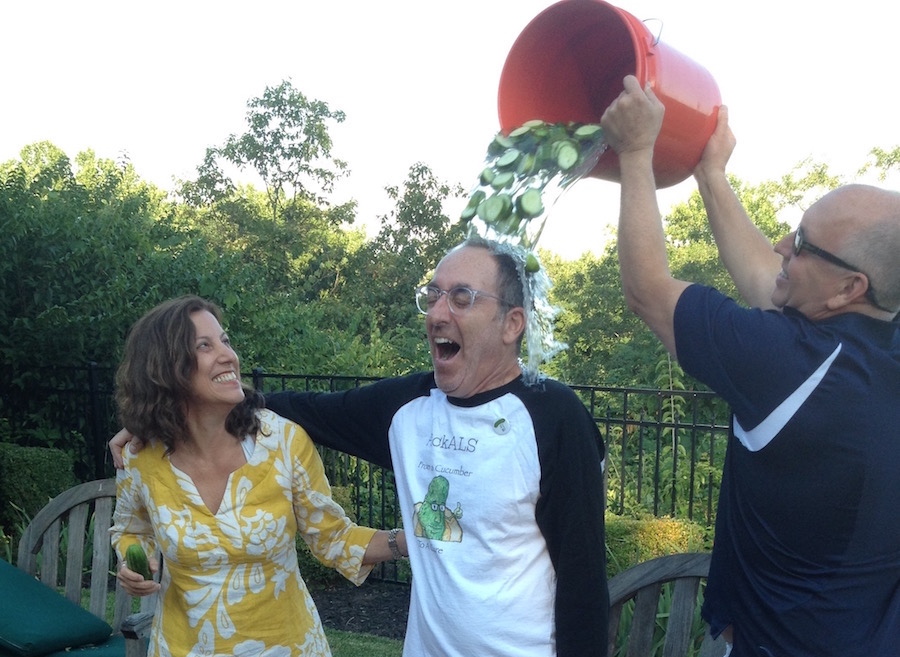 Arthur Cohen ice bucket challenge with pickles for ALS